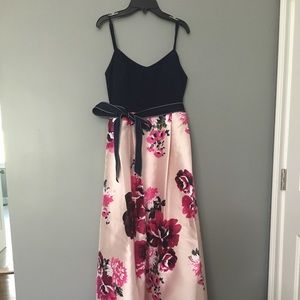 Long Formal Dress Navy and Pink Flowers
